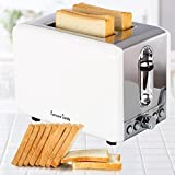 SVVSS Stainless Steel 2 Slice Toaster with Extra-Wide Slot Defrost Function-White Electric Toaster