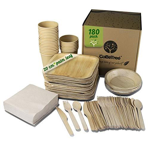 Vaisselle jetable en feuille de palmier 180 pièces pour 25 personnes. Assiettes en feuille de palmier biodégradables Comprend 30 assiettes, 75 couverts, 25 verres et 50 serviettes.