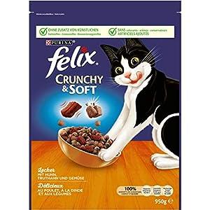 FELIX Crunchy & Soft Katzenfutter trocken, Sorten-Mix, 4er Pack (4 x 950g) 2