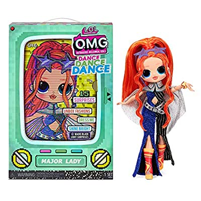 LOL Surprise OMG Dance Dance Dance Major Lady Fashion Doll with 15 Surprises Including Magic Black Light, Shoes, Hair Brush, Doll Stand and TV Package - A Great Gift for Girls Ages 4+ from MGA Entertainment