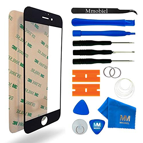 MMOBIEL Front Glas kompatibel mit iPhone 6 / 6S 4,7 Inch Series (Schwarz) mit Werkzeug-Set