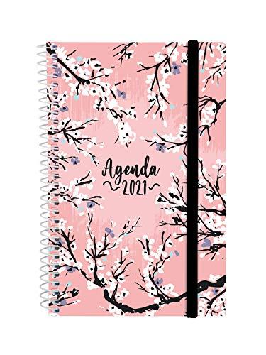 Finocam - Agenda 2021 Semana vista apaisada Espiral Design Collection Sakura Español, Mediano - E5-117x181 mm