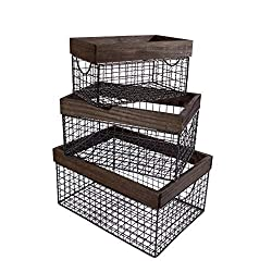 three black wire bins with wooden tops