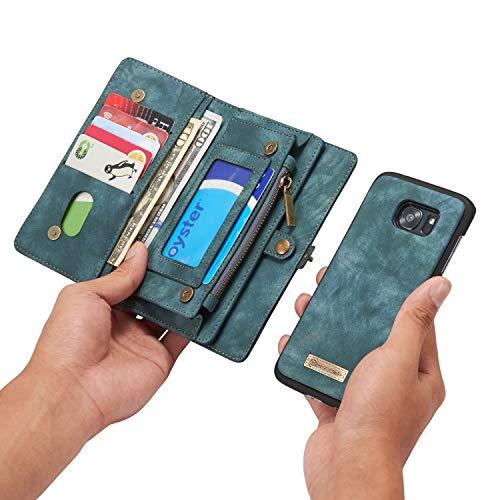 Qilo Ranura Potente magnetizada de protección de Tarjeta de crédito de la Manga y el Soporte 3D, Caja de la Carpeta de Cuero 2-en-1 Desmontable for Samsung Galaxy S7 Edge Carcasas y Fundas