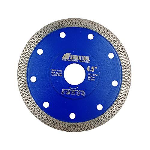 SHDIATOOL Disco Tronzador de Diamante 115mm con X Malla Turbo Hoja de Sierra para Porcelana Azulejos Cerámica Mármol