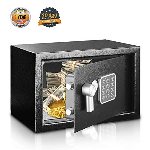 SereneLife Safe Box, Safes and Lock Boxes, Money Box, Safety Boxes for Home, Digital Safe Box, Steel Alloy Drop Safe, Includes Keys