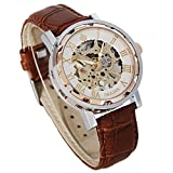 Watches, Mens Mechanical Skeleton Hand-Wind Steampunk Bling Watch for Men Women, Roman Numeral PU Leather Silver Rose-Gold Case Unisex Wrist Watch