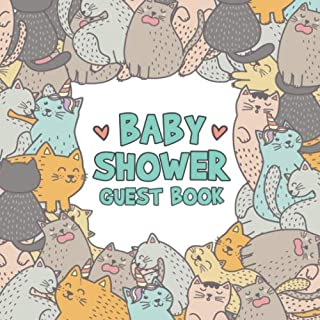 Baby Shower Guest Book: Cat & Caticorn Keepsake Guestbook - Cute Animal Sign in Journal for Boy or Girl Baby Shower with Space for Visitors to Write ... Lines for Email, Name and Address + GIFT LOG