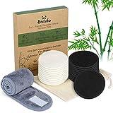 22 Stück Waschbare Abschminkpads, Wiederverwendbare Wattepads aus Bambuskohle und Bambusfasern mit Haarband und Wäschesack, Abschminkpads für Saubereres Gesicht Abwischung, Ideal für alle Hauttypen