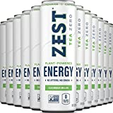 Zest Plan Powered Energy Ice Tea, No Sugar, 0 Calories, Perfect for Keto and Whole 30, Non GMO High Caffeine Blend, Natural & Healthy Coffee Substitute, 120 mg Caffeine per 12 Oz Can, Cucumber Melon, 12 Pack