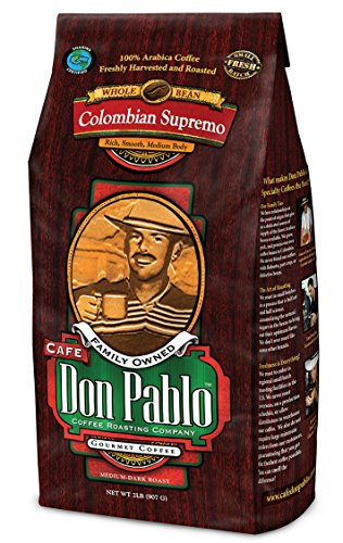 2LB Cafe Don Pablo Gourmet Coffee Colombian Supremo - Medium-Dark Roast Coffee - Whole Bean Coffee - 2 Pound (2 lb) Bag