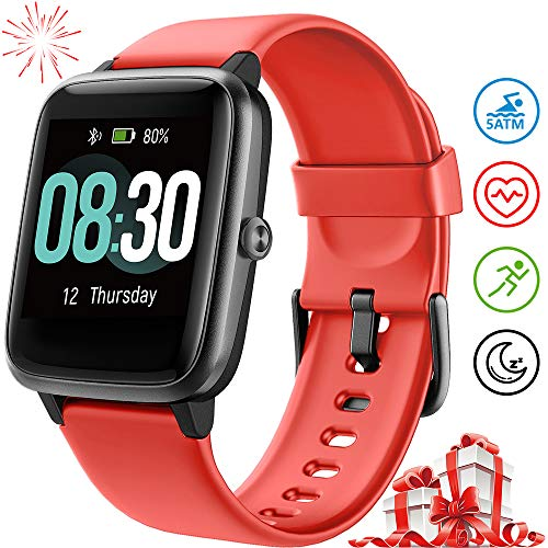 UMIDIGI Smart Watch Fitness Tracker Uwatch3, Smart Watch for Android Phone, Activity Tracker with Heart Rate Monitor, 5ATM Waterproof Smartwatch iPhone Compatible for Kids Men Women (Cinnabar Red)