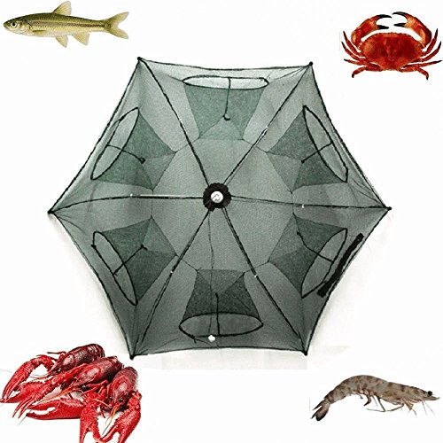 2-Pack Portable Folded Fishing Net Fish Shrimp Minnow Crayfish Crab Baits Cast Mesh Trap automatic , Easy Use Hexagon 6 Hole Cage Crab Fish Minnow Crawdad Shrimp (6 sides 6 Holes)