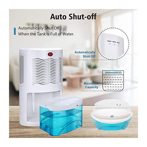 Gocheer upgraded dehumidifier for home,up to 480 sq. Ft dehumidifiers for high humidity in basements bedroom closet… 5 high effectively dehumidifier:comes with a 2000ml(68oz) water tank which can quickly and effectively remove up to 1000ml(34oz,temperature: 86 °f humidity: 80% rh) of moisture from the air per day. Keep your home comfortable and healthier all the time. Application area:up to 480 sq. Ft,this household portable small dehumidifier is widely used in all kinds of scenes such as your home,bathroom,living room,bedroom,closet,kitchen,which can efficiently meet your daily needs for removing moisture. Upgraded energy saving:compared with bulky compressor dehumidifiers,our compact home dehumidifier equips with semiconductor condensation technology which can ensure maximum water extraction with minimum power use.