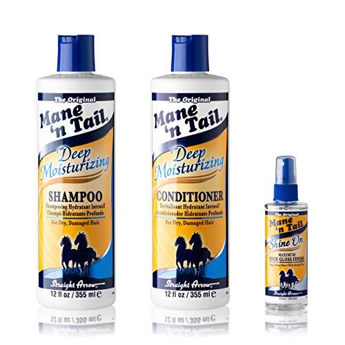 Mane 'n Tail Deep Moisture For Distressed Hair Shampoo + Conditioner 12 Ounce Each + Shine On 4 Oz