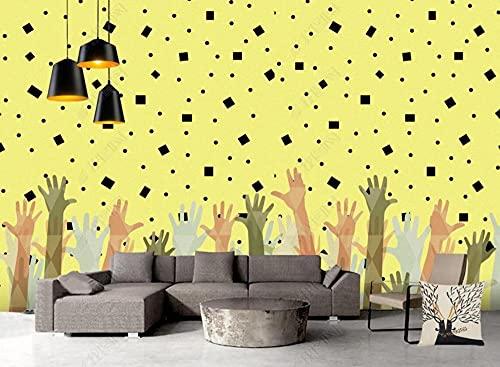 Papel Pintado Pared 3D Pared Palma Geométrica Amarilla Fotomurales Decorativos Pared Decoración Mural Pared