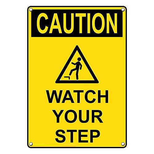 Sale Special Price Weatherproof Plastic Vertical OSHA Caution Sign Step Milwaukee Mall Your Watch