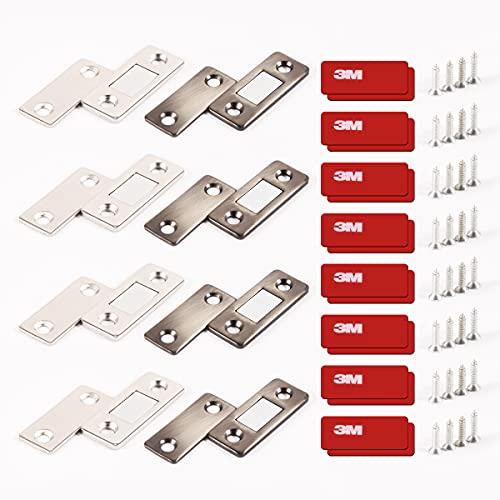 Imanes adhesivos No es necesario perforar Ultradelgado Imanes para puertas Aplicar para Puertas armario Ventanas Cajones Etc 8 Juegos(plata y bronce)