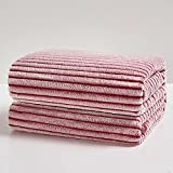 BEDELITE Fleece Throw Blankets for Couch & Bed, Luxury Striped Red and White Decorative Throw Blankets - Plush, Fluffy, Fuzzy, Cozy - Super Soft & Lightweight Throw Blankets for Fall and Winter