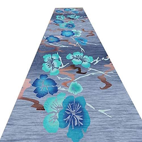 YANZHEN Läufer Flur Teppich Fußmatte Jacquardmuster Blau Polyester Anti-Rutsch-weich 7mm Dick, Mehrere Größen (Farbe : A, größe : 0.8 x 5m)