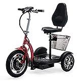 VELECO ZT16 Scooter électrique 3 Roues Mobylette Senior Handicapé 750W (Rouge)