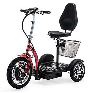 VELECO 3 Ruedas Plegable Scooter eléctrico Movilidad Trike ZT16 (Rojo)
