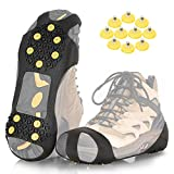 ZOMAKE Ice Cleats for Shoes and Boots, Traction Crampons Snow Grips for Walking on Ice, Men Women Anti Slip 10 Spikes Cleat(Extra 10 Studs)