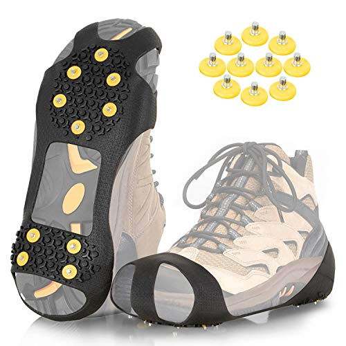 ZOMAKE Ice Cleats for Shoes and Boots Traction Crampons Snow Grips for Walking on Ice Men Women Anti Slip 10 Spikes CleatExtra 10 Studs