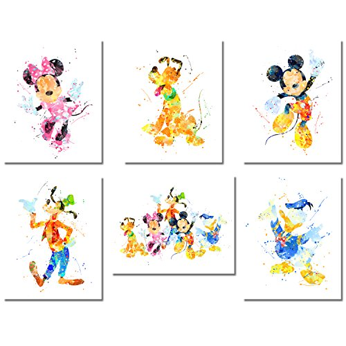Mickey Mouse Wall Art Watercolor Poster Prints - Set of 6 (8 inches x 10 inches) Photos - with Mickey Minnie Donald Duck Goofy Pluto