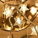Star Luces de Hadas Estrella de la Noche Luz de la Secuencia 6M 40Pcs LEDS, Decorar de Fiestas, Arbol de Navidad, Balcón, Jardín etc (Blanco)
