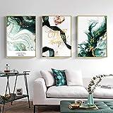 WEDSA Lienzo Pintura Mural Lienzo Pintura Golden Leaf Nordic Carteles e Impresiones Wall Art Pictures for LivingRoomModern40x60cmx3 Sin Marco