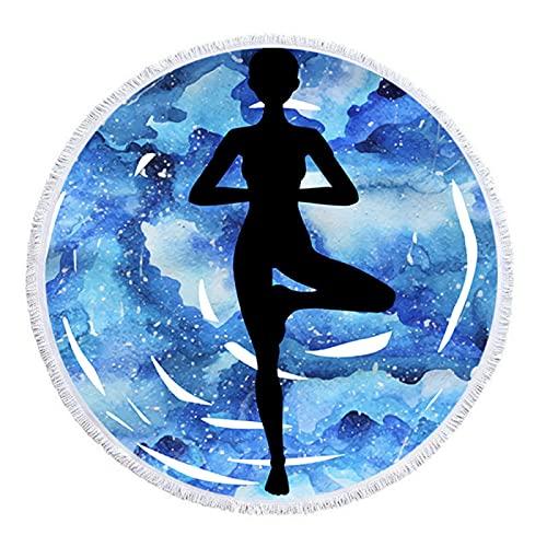 RZHIXR Toalla De Playa Redonda con Estampado De Deportes, Impresión Digital De Deportes De Yoga, Tapete De Playa De Microfibra, Toalla De Baño Absorbente 150 * 150cm