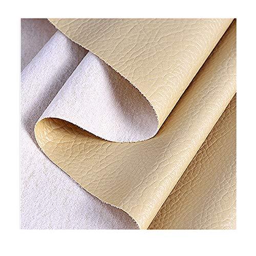 ZHIHEHE 1 Metros de Polipiel Tela De Cuero Ecológico para tapizar Manualidades Cojines o forrar Objetos Venta de Polipiel por Metros Ancho 138cm-Color Crema 300×138cm