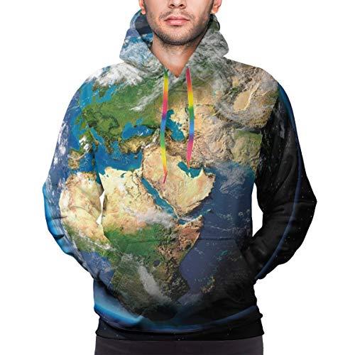 AIQIIA Men's Hoodies 3D Print Pullover Sweatershirt,Vivid Earth Globe with Blue Seas Greenery Volumetric Clouds Science Theme,M