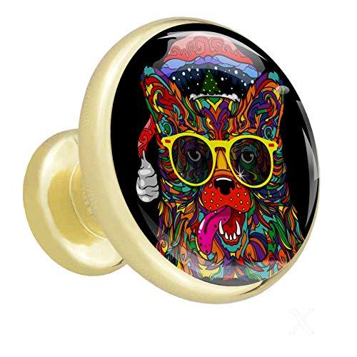Kleiderschrank Knöpfe Farbige Hund Weihnachtsmütze Sonnenbrille Cabinet Hardware Metall ausgefallene Glod Kommode Knöpfe für Jugendliche (4 Stück) 3.2x3x1.68cm