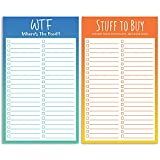 Funny Magnetic Grocery List Notepads - Two Hilarious 4.5 x 7.5 to Do Refrigerator Shopping Lists 50 Sheets Each - Fun Daily Organizer Checklist with Magnet for Fridge to Track Tasks, and Food to Buy