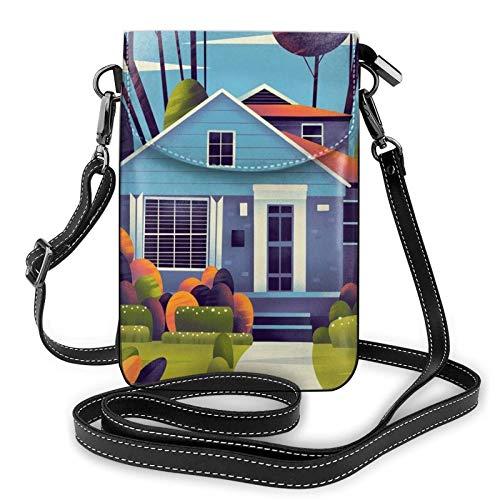 Bolso ligero del teléfono celular de la PU, bolso pequeño de la casa de la casa de la bolsa del hombro de la cartera del bolso del Pounch para las mujeres