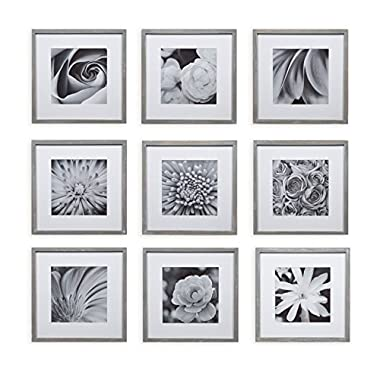 Gallery Perfect 9 Piece Greywash Square Photo Frame Wall Gallery Kit #17FW2316. Includes: Frames, Hanging Wall Template, Decorative Art Prints and Hanging Hardware