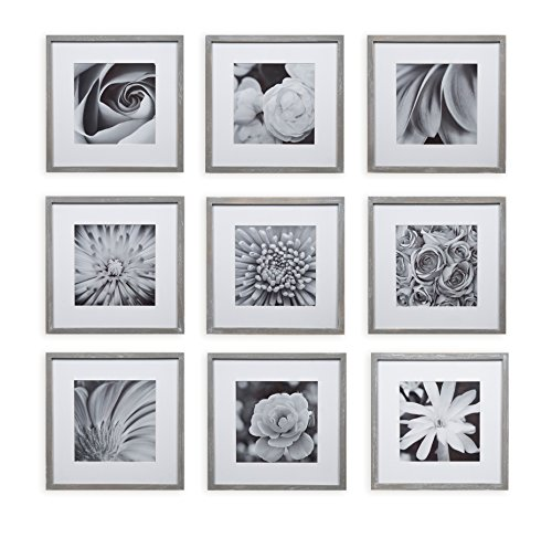 Gallery Perfect 17FW2316 Square Decorative Art Prints and Hanging Template Gallery Wall Frame Set, 9 Piece, Grey, 9 Count