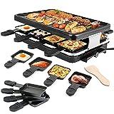 Errum 2-EN-1 Raclette Grill avec Plaque per 8 Persone 1300W...