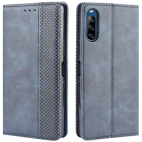 HualuBro Handyhülle für Sony Xperia L4 Hülle, Retro Leder Stoßfest Klapphülle Schutzhülle Handytasche LederHülle Flip Hülle Cover für Sony Xperia L4 Tasche, Blau