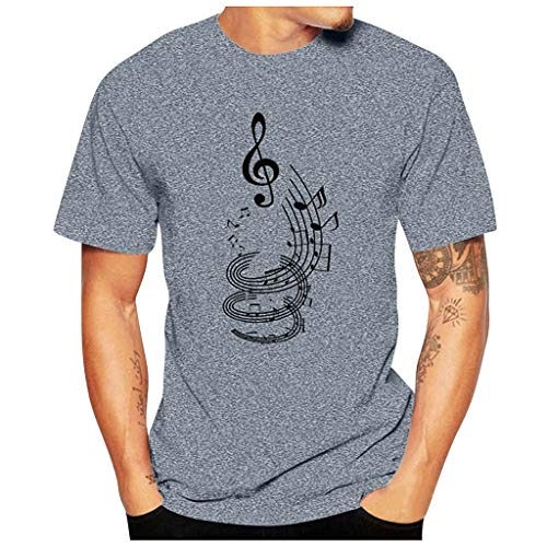 haoricu Men Casual Funny Guitar Musical Note Print T Shirt Summer Short Sleeve T Shirt Roun Neck Tee Gray
