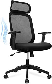 Vanspace Ergonomic Mesh Office Chair High-Back Desk Chair with Adjustable PU Arms Computer Chair Task Chair with Large Headrest, Back Leaning, Thick Seat Cushion, Height Adjustment- Black (Panda)