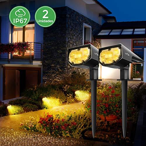Luces Solares Led Exterior Jardin Impermeable IP67 focos solares exterior 12 LED Inalámbrico 2 en 1 Lamparas Solares para Piscina Cesped Jardín Patio Calzada Blanco Cálido (2 Paquetes)