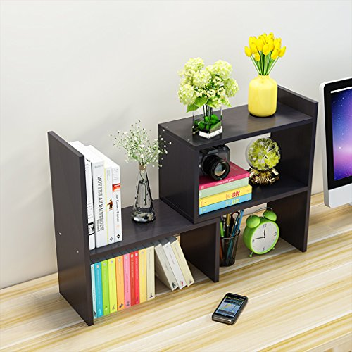 YWXG Japonais-Style Bricolage Creative Woody Bureau Petites étagères Classeur Rack étagère de Livre, Stockage Bureau Organisateur File étagères Solide Bois bibliothèque Bureau Chambre Stockage
