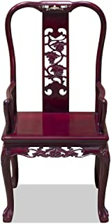 China Furniture Online Rosewood Arm Chair, Hand Carved Grape Vine Motif in Dark Cherry Finish