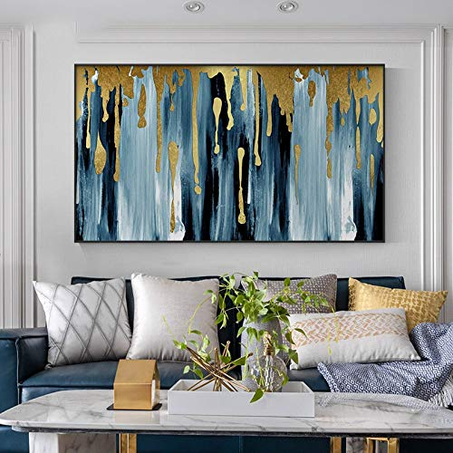 Yegnalo canvas painting print Gold and blue abstract oil painting on picture posters and living room decoration art,80x120cm,Frameless painting