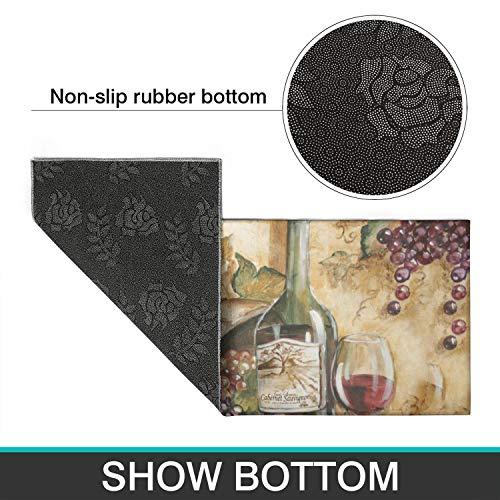 Demvemin 2 PCS Kitchen Rugs and Mats Non Skid Washable, Soft Super Absorbent Wine Grape Oil Painting Kitchen Mat Doormat Carpet Bathroom Runner Set