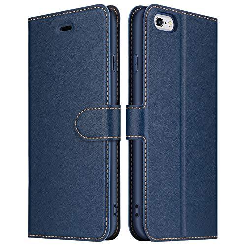 ELESNOW Funda iPhone 6 Plus / 6S Plus, Premium Cuero Billetera Flip Protectora Carcasa Magnético para iPhone 6 Plus / 6S Plus (Azul)