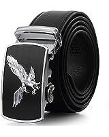 Fashion Men's Leather Belt Sliding Buckle Ratchet Belt Automatic Buckle Belt (110cm, PZD402505)